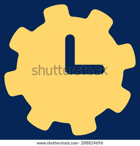 Time settings icon from Business Bicolor Set. This flat raster symbol uses yellow color, rounded angles, and isolated on a blue background. - stock photo