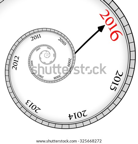 Time spiral with years. 2016 happy new year. - stock photo