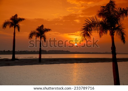 Time sunset  - stock photo