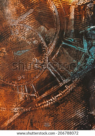 Time Theme Abstract motive - weathered distressed grunge wall structures, beautiful detail, vivid colors - stock photo