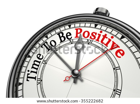 Time to be positive red word on concept clock, isolated on white background