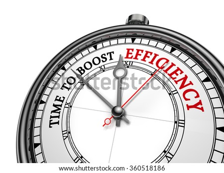 Time to boost efficiency motivation on concept clock, isolated on white background