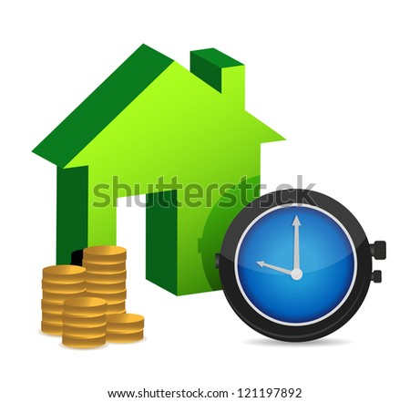 time to buy a home illustration design over white - stock photo