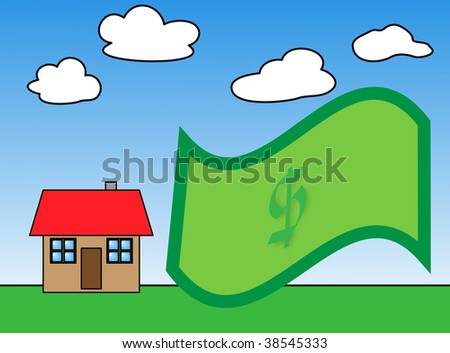 time to buy and invest dollar in housing market - stock photo