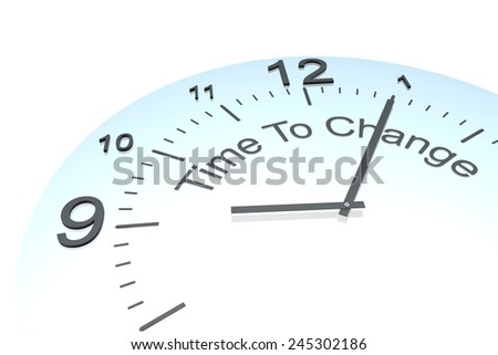 Time to change, a close up of a clock with 3D text time to change