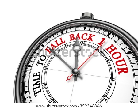 Time to fall back one hour concept clock, isolated on white background