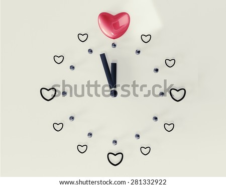 Time to find true love illustration - clock with minute and hour hand reaching 12 o'clock in a shape of heart. - stock photo