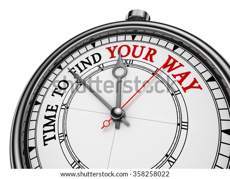 Time to find your way motivational concept clock, isolated on white background