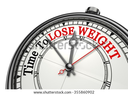 Time to lose weight motivation message on concept clock, isolated on white background