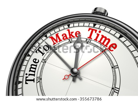 Time to make time red word on concept clock, isolated on white background