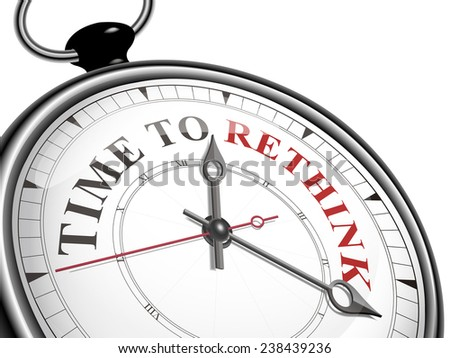 time to rethink concept clock isolated on white background - stock photo