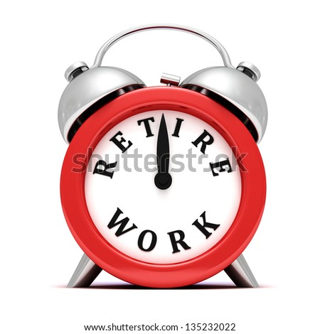time to retire concept red clock on white - stock photo