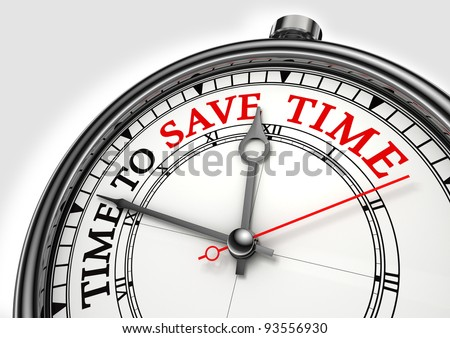 time to save time concept clock closeup on white background with red and black words