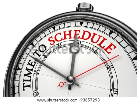 time to schedule concept clock closeup isolated on white background with red and black words