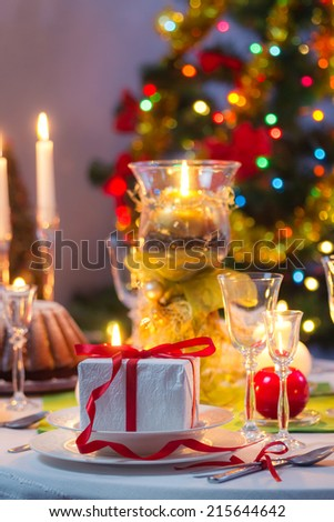Time to sit around a Christmas table - stock photo