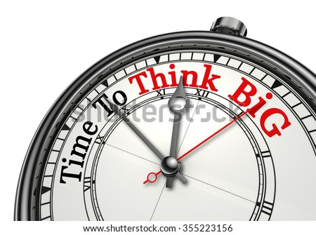 Time to think big red word on concept clock, isolated on white background