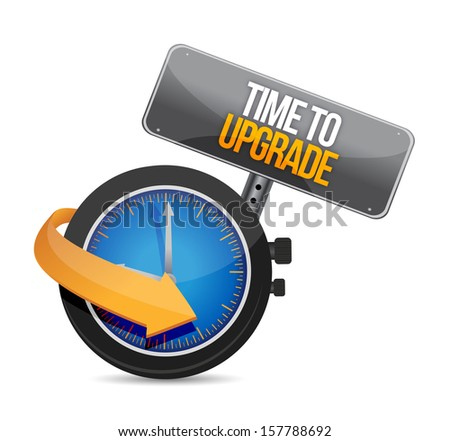 time to upgrade watch illustration design over a white background - stock photo