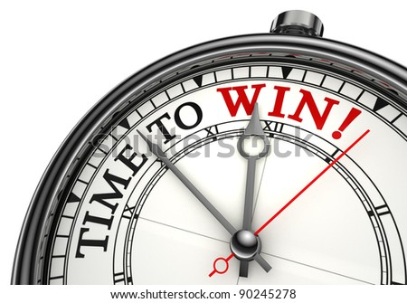 time to win concept clock closeup on white background with red and black words