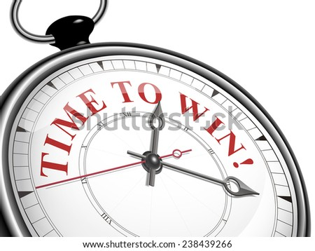time to win concept clock isolated on white background - stock photo