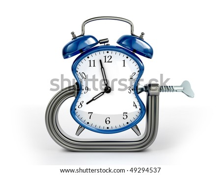Time warp concept. C clamp squeeze blue alarm clock.