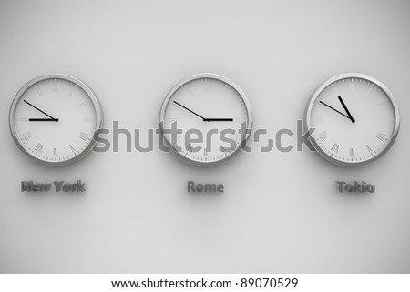 Time zone between NY, Rome and Tokio - stock photo