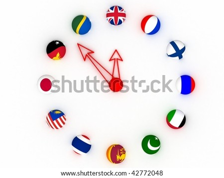 Time zone with Flags - stock photo