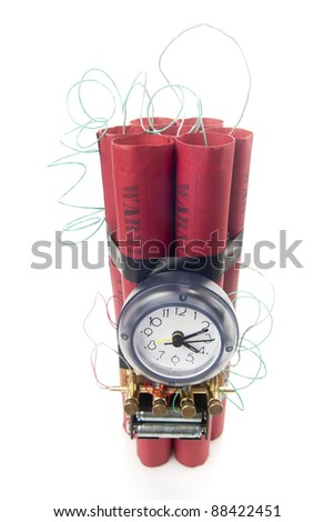 timebomb made of dynamite isolated on white - stock photo