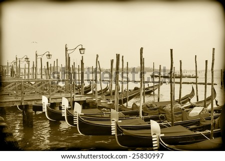 Timeless Venice, sepia toned black and white image - stock photo