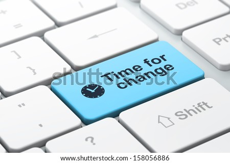 Timeline concept: computer keyboard with Clock icon and word Time for Change, selected focus on enter button, 3d render - stock photo