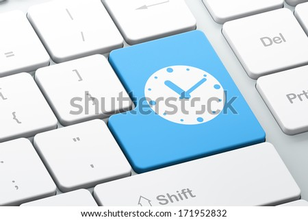 Timeline concept: Enter button with Clock on computer keyboard background, 3d render - stock photo