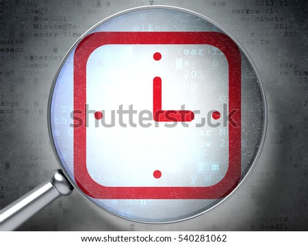Timeline concept: magnifying optical glass with Watch icon on digital background, 3D rendering