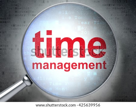 Timeline concept: magnifying optical glass with words Time Management on digital background, 3D rendering - stock photo