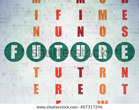 Timeline concept: Painted green word Future in solving Crossword Puzzle on Digital Paper background - stock photo