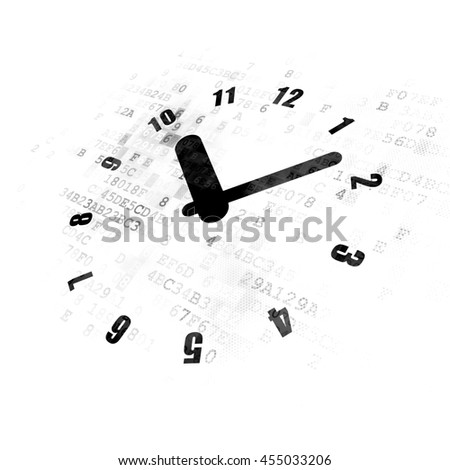 Timeline concept: Pixelated black Clock icon on Digital background - stock photo