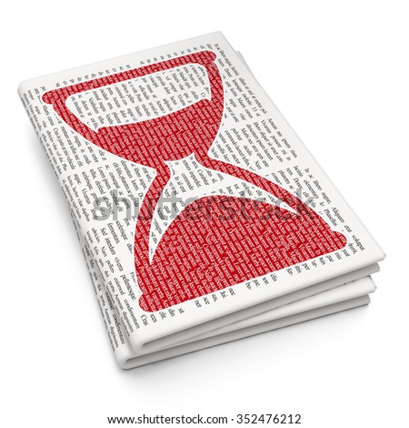 Timeline concept: Pixelated red Hourglass icon on Newspaper background - stock photo