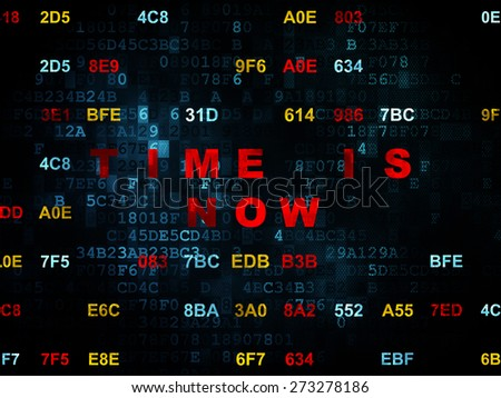 Timeline concept: Pixelated red text Time is Now on Digital wall background with Hexadecimal Code, 3d render - stock photo