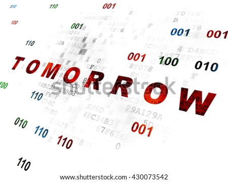 Timeline concept: Pixelated red text Tomorrow on Digital wall background with Binary Code - stock photo