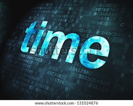 Timeline concept: pixelated words Time on digital background, 3d render