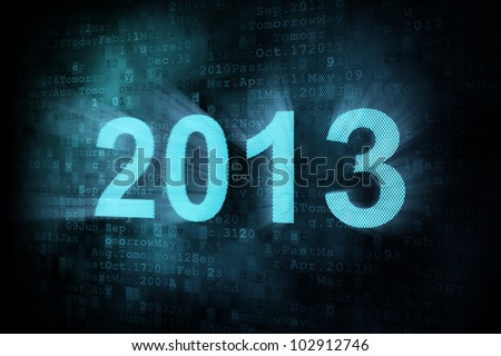 Timeline concept: pixeled word 2013 on digital screen, 3d render - stock photo