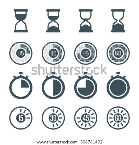 timer, digital timer, stopwatch, hourglass icons set in flat style, isolated on white background - stock photo
