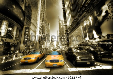 Times Square - Manhattan - sepia - stock photo