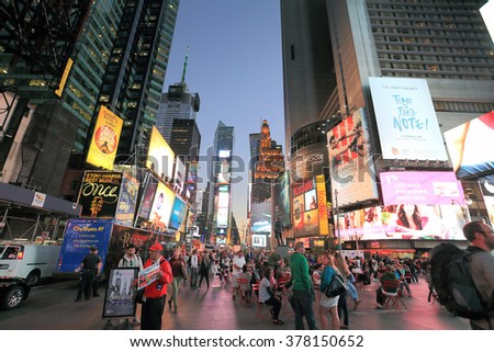 TIMES SQUARE, NEW YORK, NY, USA-SEP 24: Times square in the evening, September 24,2013