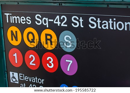 Times Square - 42 street station entrance. Illustration - stock photo
