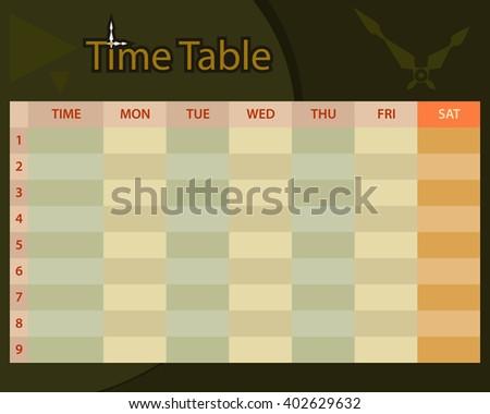 Timetable Schedule Planner Raster Illustration - stock photo