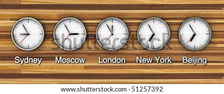 Timezone clock on wooden wall - stock photo