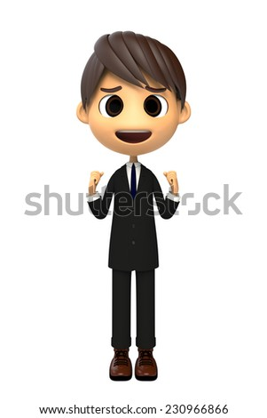 Timid cheer of Businessman
