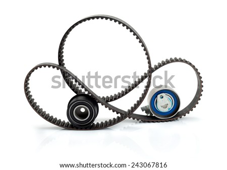 Timing belt, pulley and tensioner. Isolate on white. - stock photo