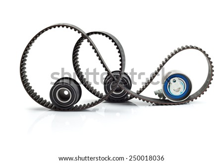 Timing belt, two rollers and the tension mechanism. Isolate on white background. - stock photo