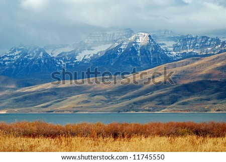 Timpanogos mountain, Utah in late fall. - stock photo