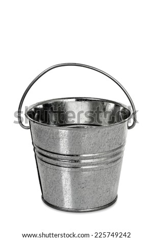 tin bucket isolated on white - stock photo